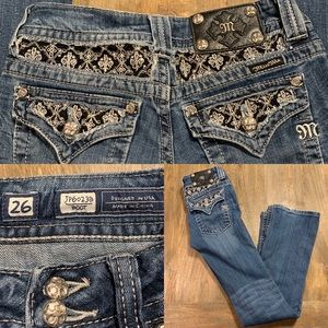 Miss Me size 26 Bootcut lace and bling details